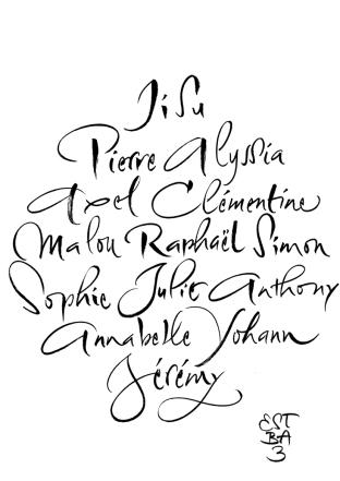 14 prénoms des élèves de l'éstba promotion3