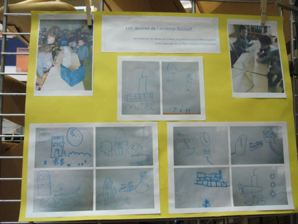Les enfants ont repris en dessin les découpes du livre